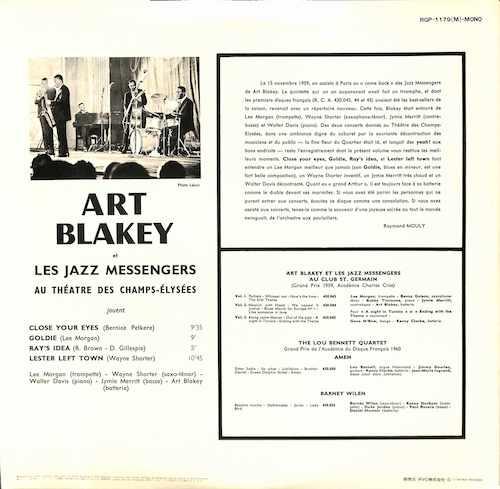 ART BLAKEY ET LES JAZZ MESSENGERS Au Theatre Des Champs Elysees