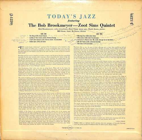 BOB BROOKMEYER ZOOT SIMS QUINTET Today's Jazz