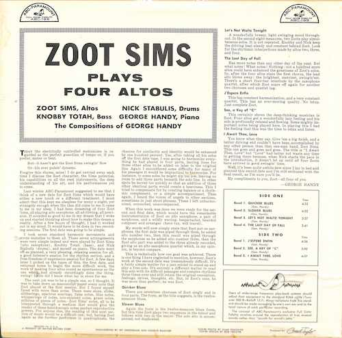 ZOOT SIMS Zoot Sims Plays Four Altos: 4