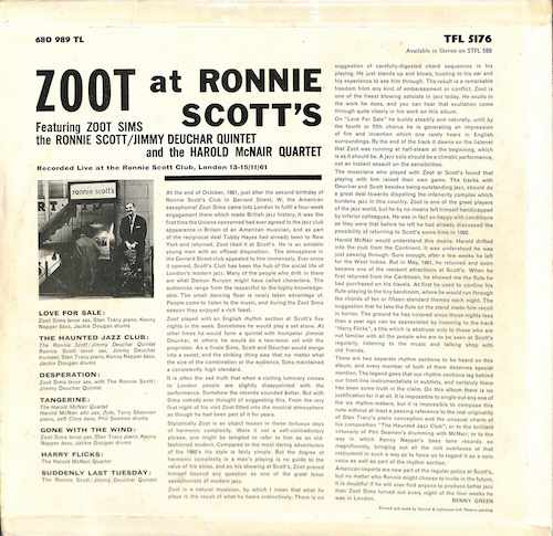 ZOOT SIMS Zoot At Ronnie Scott's