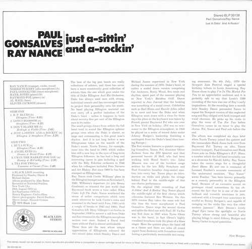PAUL GONSALVES RAY NANCE Just A sittin' And A rockin'