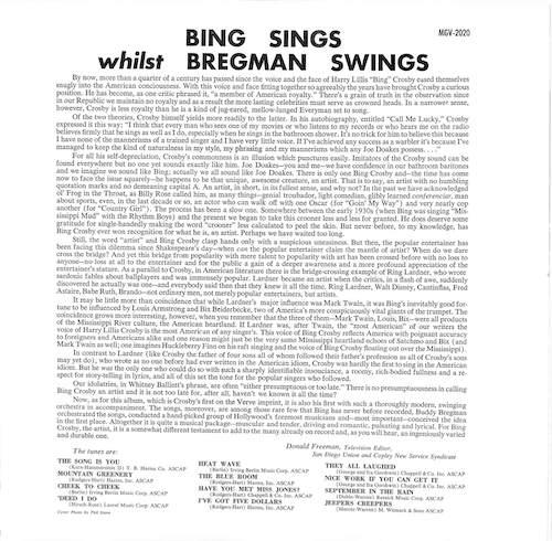 BING CROSBY Bing Sings Whilst Bregman Swings