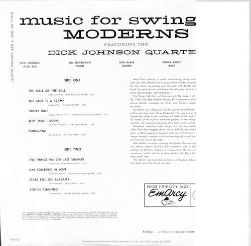 DICK JOHNSON QUARTET Music For Swingin Moderns