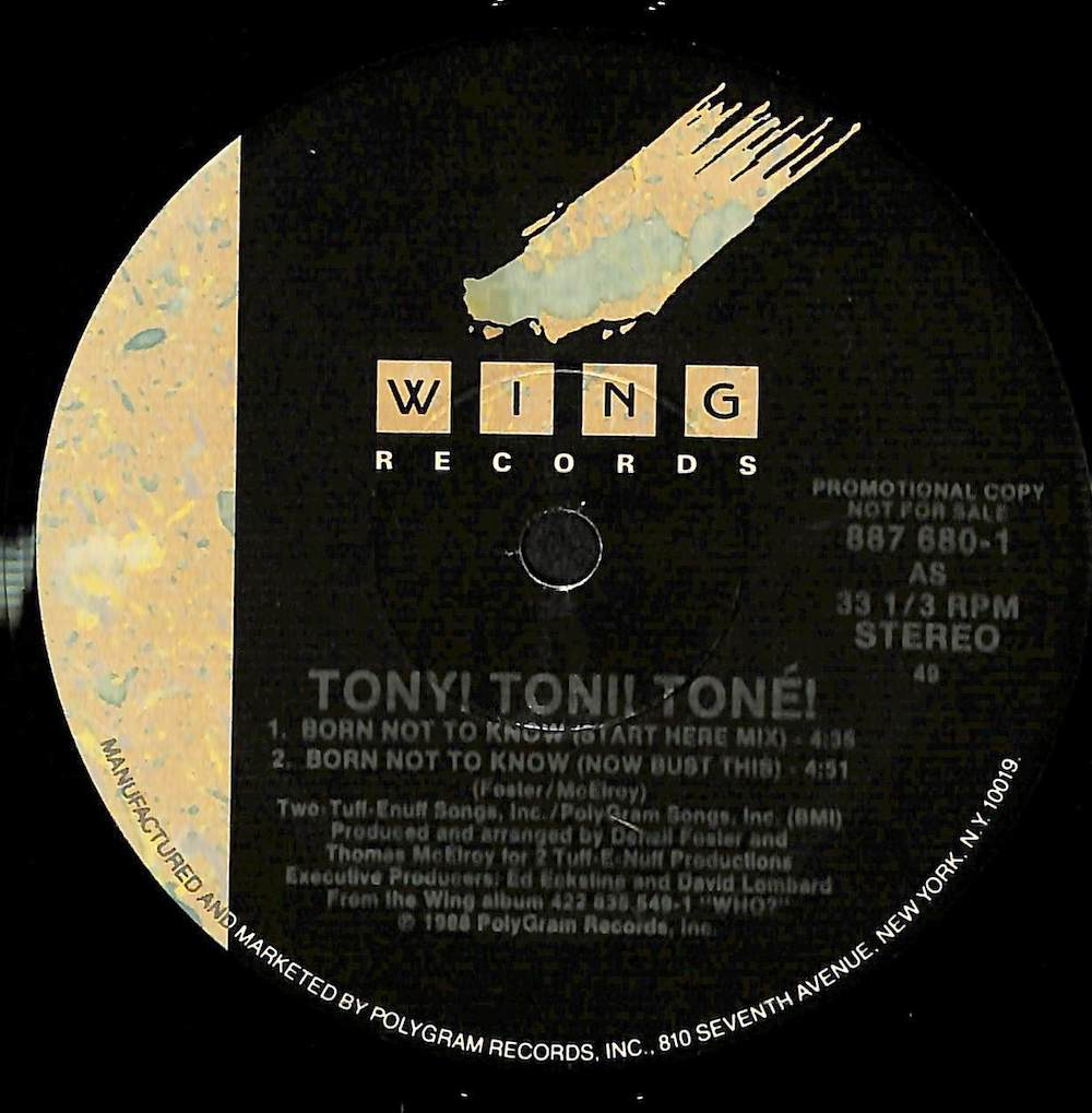 TONY TONI TONE - Born Not To Know - 12 inch x 1